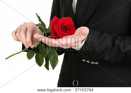 man holding rose close-up