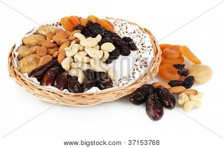 different dried fruits isolated on white