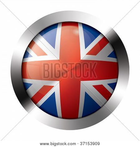 Metal And Glass Button - Flag Of The United Kingdom - Europe