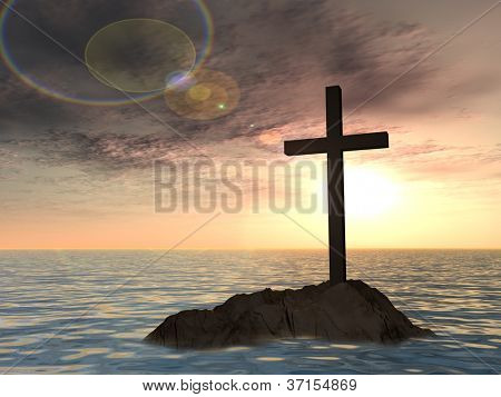 Concept or conceptual dark christian cross standing on a rock in the sea or ocean over a beautiful sky at sunset as a metaphor for faith,religion,religious,belief,Jesus, christ,spiritual or church