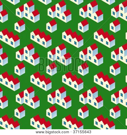 Real Estate Seamless Pattern. White Village Buildings with Red Roof on Green Background. Rasterized Version