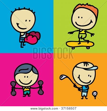 Doodle happy sport kids icon set