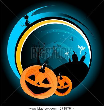 Halloween scary vector abstract background with witch, castle, pumpkin, cat and ghost