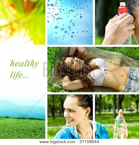 healthy life collage made in the forest with bottle of water