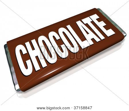 A chocolate bar in brown and silver foil wrapper, junk food candy that is unhealthy for you to eat