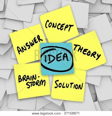 The word Idea on a blue sticky note and many other related terms - solution, brainstorm, concept, theory, and answer - surrounding it on a bulletin board