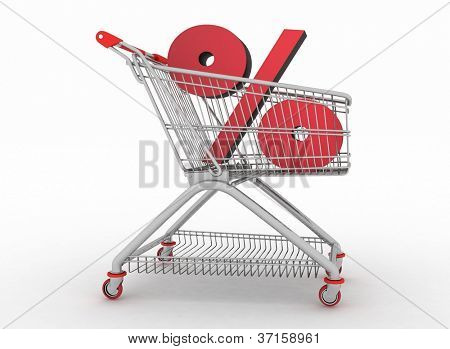 the shopping cart with sign of percentage inwardly