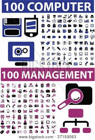 200 computer & management icons set, vector