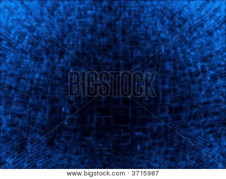 Fantasy Alien Unknown Blue Wireframe Sphere In Dark Background