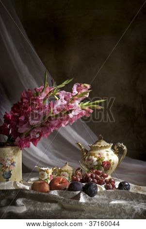 Old Fashioned Still Life With Fruit And Flowers