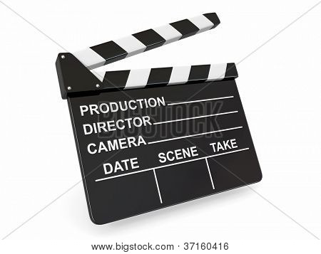 Movie industry. Clapperboard on white background. 3d