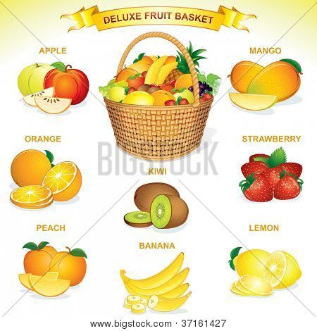 Deluxe Fruit Basket. Vector Illustration