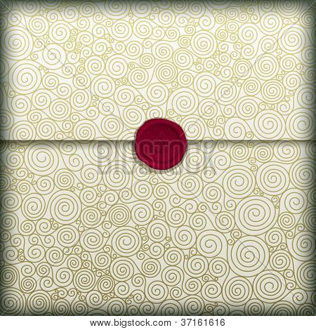 Golden spiral letter with red wax seal, vector eps10 illustration