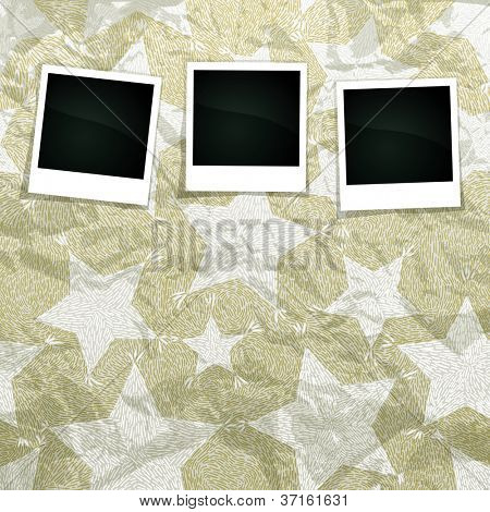 Christmas grunge scrapbook with empty photo frames, vector eps10 illustration