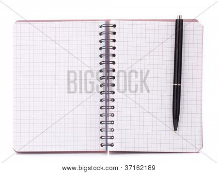 Open blank checked notebook with black pen isolated on white background cutout