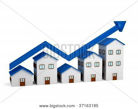 Growing chart over houses 3d