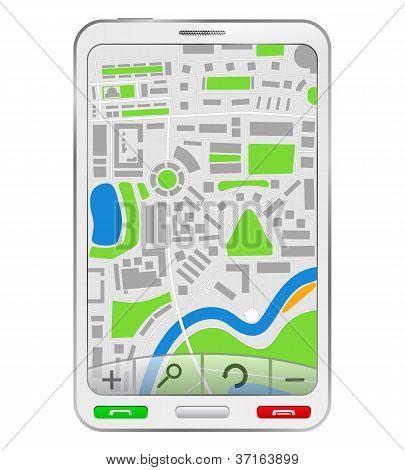 GPS Navigator in white smartphone