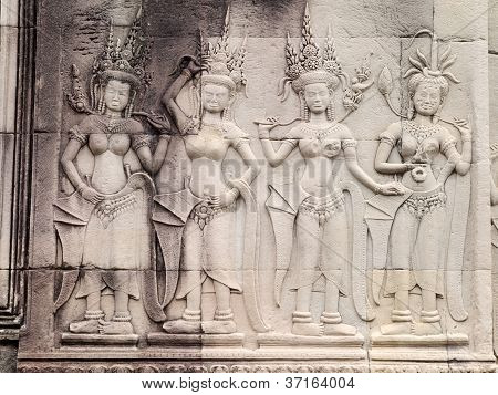 Apsara Carving On The Wall Of Angkor Wat