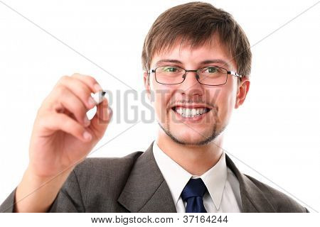 Happy businessman with black marker over white background