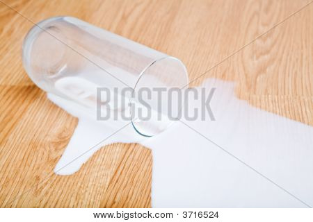Milk Spilled From Glass