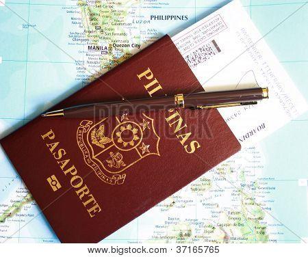 Philippines passport on map background