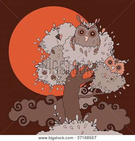 Owls in tree. Funny cartoon illustration.