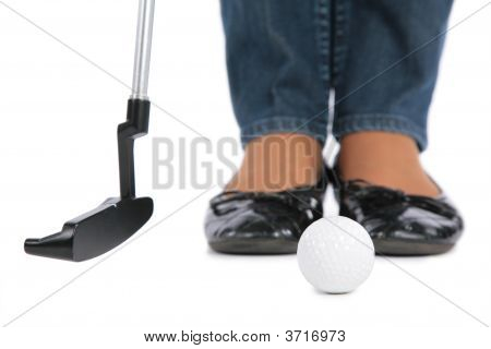 Woman Feet Stick And Ball For Golf