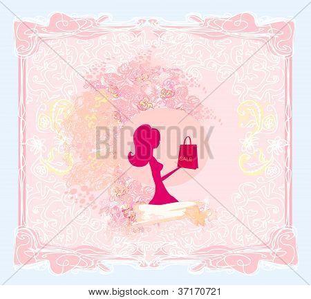 Abstract Fashion Girl Shopping - Illustration
