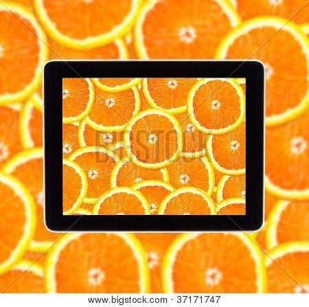 Laranja na tela do Tablet Computear