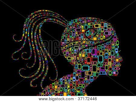 Profile woman silhouette of man made with Cellphones and Smartphones in black background