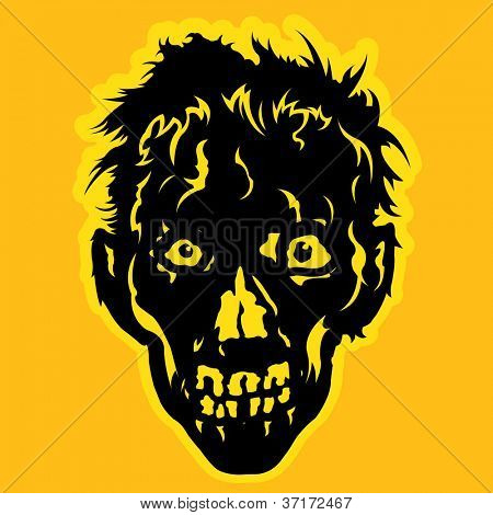 Zombie Face in orange / yellow background