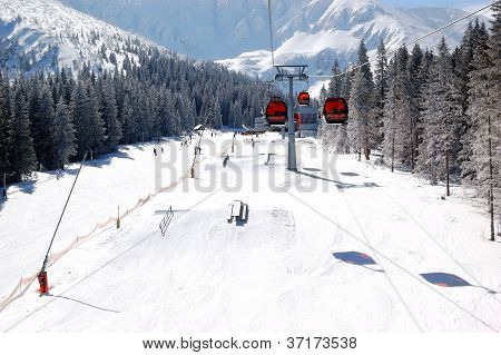 Jasna-march 15: Cableway Cabins And Freeride Park At Jasna Low Tatras. It Is The Largest Ski Resort