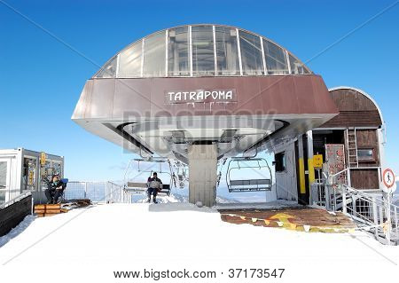 Jasna-march 15: Tatrapoma Cableway Station In Jasna Low Tatras. It Is The Largest Ski Resort In Slov