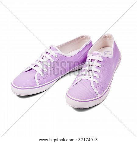 Pair Of Sneakers Isolated On White Background. Isolation Path Included