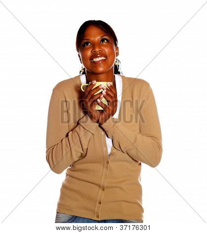 Attractive Young Woman Holding A Mug