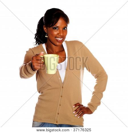 Adult Woman Giving You A Mug