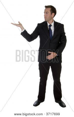 Businessman Showing Open Palm