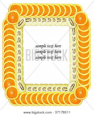 Fatia de laranja e Kiwi fazendo o quadro de texto de exemplo