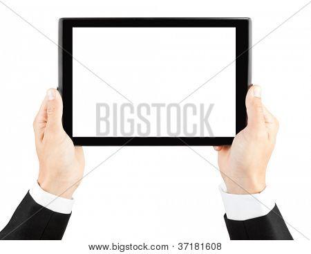 Mãos do homem segurando um tablet como o ipade pc