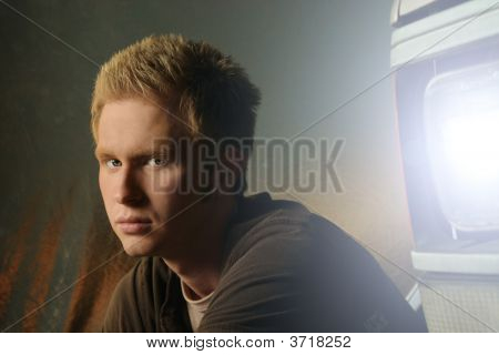 Young Man In Front Of Truck