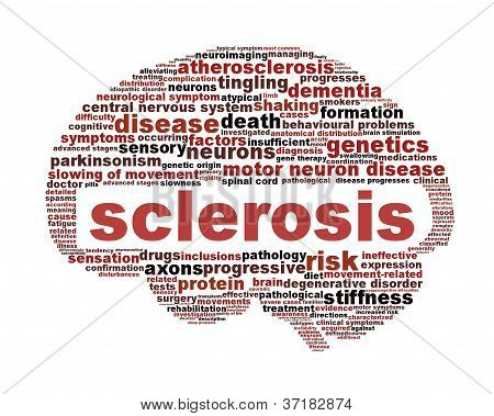 Sclerosis disease symbol isolated on white