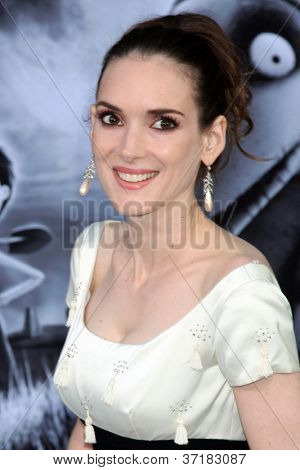 "LOS ANGELES - SEP 24:  Winona Ryder arrives at the ""Frankenweenie"" Premiere at El Capitan Theater on September 24, 2012 in Los Angeles, CA"