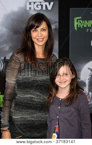 "LOS ANGELES - SEP 24:  Catherine Bell, daughter arrives at the ""Frankenweenie"" Premiere at El Capitan Theater on September 24, 2012 in Los Angeles, CA"