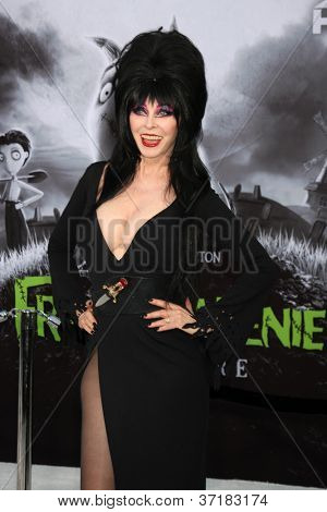 "LOS ANGELES - SEP 24:  Cassandra Peterson as Elvira arrives at the ""Frankenweenie"" Premiere at El Capitan Theater on September 24, 2012 in Los Angeles, CA"