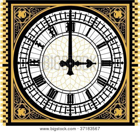 Big ben clock in very high detail - vector - layered and grouped for easy editing