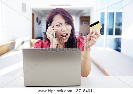 Disappointed Woman Shopping Online