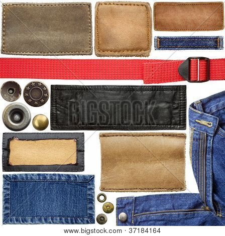 Blank leather jeans labels, fabric textures, buttons, straps.