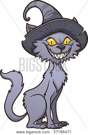 Scary Halloween black cat. Vector illustration with simple gradients. All in a single layer.
