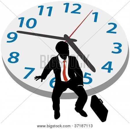 Business man sits on clock waiting for late appointment or taking break