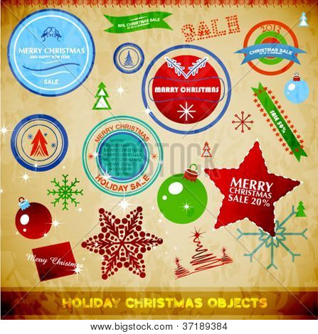 Vintage Christmas decoration pack. Snowflakes, stars, tags, badges. Eps10 vector illustration